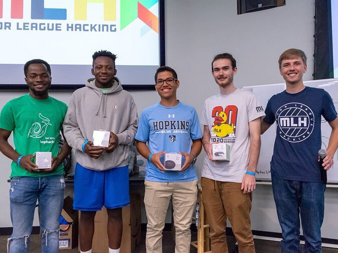 Winners of a hackathon with some team members from Brooklyn College.